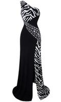 one shoulder black evening dress - One Shoulder Zebra Gemstones Stitching Evening Dress Black