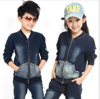 baby boy denim jacket - 6 Sets Spring NEW Baby Denim Pieces Suits Set Boy S Suits Set Jacket Jeans Pant Baby Kids Clothing Via EMS L28799