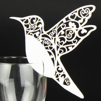 Wholesale Laser Cut Bird Place Card Wine Glass Card Table Name Place Card Wedding Party Favor Decor