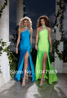 Reference Images Empire Sleeveless New Arrival Hot Sale Cheap Fashion Round neck Tight Split Front Beading Satin Floor Length Evening Pom Dresses