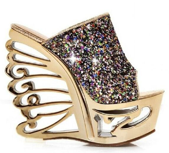 Popular Wedges High Heels Fashion Flowers Print 2014 New Sandals For Women