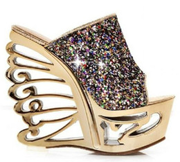 Wholesale 2014 sequins shoes Wedge slippers Women s wedges sandals party Evening shoes cm High Heels Sandals Waterproof shoes nightclub shoes