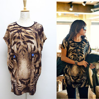 Women animal print - Tiger Printed T shirt Long Tops Womens Summer Tees Blue Eyes Popular T shirt Fashion Animal Pattern New G0523