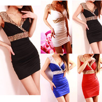 Wholesale 2014 Fashion New V neck Bodycon Novelty Dress Women Ladies Sexy Slim Hip Evening Party Mini Dresses Sequins Paillette Club Dress G0520