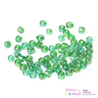 Bead Caps bag green gram - 8 Glass Seed Beads Jewelry Making Dark Green AB Color About x2mm Hole Approx mm grams approx Bag B33063
