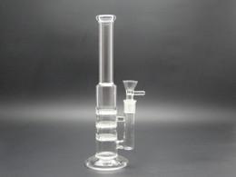 Promotion bong d'huile miel 26cm Tubes d'eau en verre Plate-formes pétrolières trois couches de verre en nid d'abeille verre de verre pipe fumer tuyau d'eau en verre avec 3 percolateurs en peigne de miel