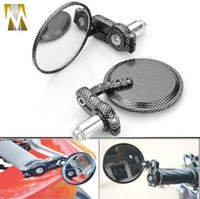 Wholesale Motorcycle Carbon Fiber Handle Bar Handlebar End quot Round Side Rear View Mirror grip end rearview mirrors