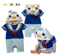 Unisex Spring / Autumn Hooded 2014 New Baby unisex Romper cut duck modelling Infant Climb Clothes animal Design Kids Summer Clothing baby gift Free Shipping
