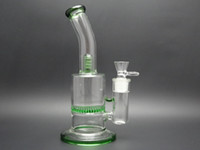 Glass -20~150°C  270mm high hand made glass bong glass smoking pipe glass water pipe with honey comb percolators blue,green color