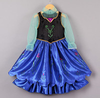 Girl Cartoon Star Cotton Blends 2014 Frozen Children Cartoon Clothing Princess Anna Cosplay Costume Long Sleeve Dress girls party dresses