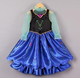 Wholesale 2014 Frozen Children Cartoon Clothing Princess Anna Cosplay Costume Long Sleeve Dress girls party dresses