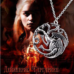 Wholesale Flim Jewelry Daenerys Targaryen Dragon Necklace Game of Throne Fire And Blood