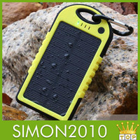 Power Bank Universal  5000mAh Waterproof Dual Ports solar panel charger with LED light for hiking and camping Dual USB Port Backup External Power Bank