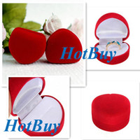 Jewelry Boxes Ring Velvet Luxury Red Velvet Heart Shaped Ring Jewelry Box Present Gift #3078