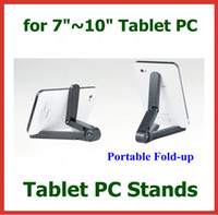 Wholesale 50pcs Universal Portable Fold up Stand Holder for Tablet PC inch inch inch inch inch Black White Color Adjustable