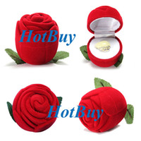 Jewelry Boxes Ring Velvet Rose Romantic Wedding Ring Earring Pendant Necklace Jewelry Display Gift Box Red #3076