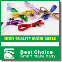 Wholesale 3 mm Stereo Audio AUX Cable Braided Woven Fabric Wire Auxiliary Cords Jack Male To Male M M m ft Lead For Iphone Samsung Mobile Phone