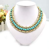 Wholesale Fashion jewelry aqua acrylic bead necklace gold chain bubble statement necklaces