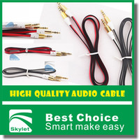 Wholesale 3 mm Stereo Audio AUX Cable Noodle Flat Dual Color Wire Auxiliary Cords Jack Male To Male M M m ft Lead For Iphone Samsung Mobile Phone