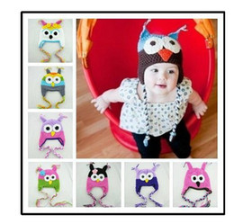 Wholesale Toddler Owl Crochet Knit Woolly EarFlap Hat Baby Handmade crochet Hat childrens handmade owl Knitted hat Color For Choose T Free FEDEX
