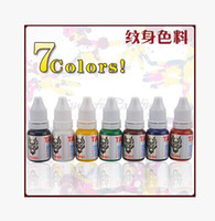 Tattoo Ink other 10ml 10ml pcs 7pcs color =1lot tattoo ink pigment set High quality Professional tattoo equipment -white black red yellow blue brown