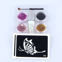 Wholesale 1set color Glitter Diamond kit tattoo glue airbrush tattoo Template Stencil flash body art painting colors