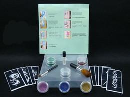Wholesale 1set color Glitter flash Diamond tattoo glue airbrushs Template Stencil tattoo body paint kit
