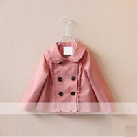 Wholesale baby girl kids lace coat lotus leaf ruffles ruffle pleated pleats tench trench coat cardigan blazers outfits Jacket shawl cotton poncho
