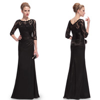 Wholesale Lace and Satin Prom Dress HE09882 Elegant Sleeve Lace Women s Long Black Celebrity Evening Dresses