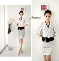Cheap Wholesale - Women Collarless Suits Business Suit Tailored Suits Career Fashion Tops Kilt casual dress