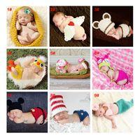 Unisex Winter Crochet Hats Free Shipping Infant Newbron Pink Bunny Cartoon Knitted Handmade Cap Jersey Costume Crochet Rabbit Design Baby Photography Props
