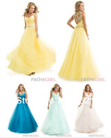 Wholesale Best Selling Custom Made Ruched Top Yellow Long Tulle Ball Gown Girl Party Prom Dresses with Jeweled Straps RC