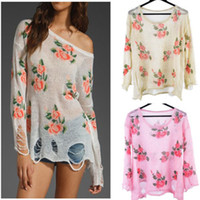 Women Cotton Twinset New Womens Oversized Floral Print Distressed Frayed Jumper Hole Knitwear Loose Thin Sweater Tops