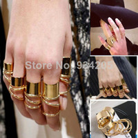 Resin Round Women 1 Set of 9pcs Fashion Punk Urban Gold Tone Wide Thin Band Knuckle Midi Rings Gothic Rings Unisex