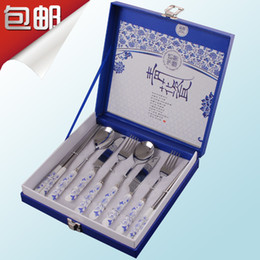 Wholesale Set blue and white porcelain stainless steel chopsticks dinnerware set ceramic knife and fork spoon wedding gift