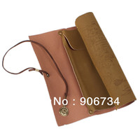 other Pencil Bag Brown New Free Shipping Pirate Treasure Map Pattern Compass Design Roll Up PU Leather Pencil Case Bag on Sale