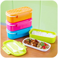 Wholesale Japanese style home a fresh wave of small single dot dot lunch boxes candy colored plastic lunch box K2674