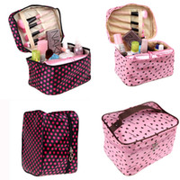 Wholesale Fashion Design Polka Dot Zip Lady Cosmetic Big Bag Storage Women s Travel Handbag Makeup Organizer