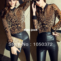 Polyester Women Button Wholesale-Free Shipping Updated 2014 Spring Clothes Sexy Women Casual Wild Leopard Long-sleeved Top Blouse M L for Choice