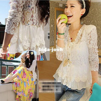 Women Lace Yes Wholesale-Korean Vintage Blusa De Renda Full Lace Hollow Yarn Peasant blouses for women Fashion Girls Size M L XL White Chemisier Bluse