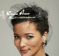 Classy White Black Flower Feathered Net Birdcage Face Veil B...