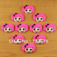 Resin Yes JOY Free shipping, Hot Pink Hair Lalaloopsy Resin Cabochon Flatbacks Flat back Hair Bow Center Crafts Embellishment ,REY140