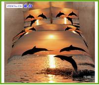Wholesale quot Dolphin quot animal D oil painting bedding set cotton active dyed print queen king bed duvet cover set bedspread textile pieces free ship