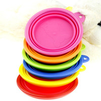 Wholesale 300pcs Pet dog bowl portable folding bowl feeder crative design pet dog cat bowl feeder colorful pet bowl DHL