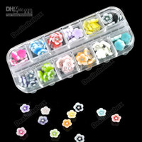 Nail Art 3D Decoration Nail Art Rhinestones 50.2g Wholesale - 12 Colors New 60pcs Flowers Rhinestone Acrylic Nail Art Tips Design Decoration Box Case Agood #2942