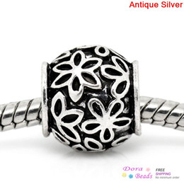 """European Charm Beads Barrel Antique Silver Flower Pattern Carved 11mm x 11mm( 3 8""""x 3 8""""),Hole:Approx 5.3mm,20PCs (K00919)"""