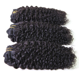 Wholesale Hot Sale Mix inches Brazilian Virgin Human Weave Hair Weft Kinky Curly Natural Color Derun Raw Hair Extensions