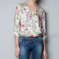 Chiffon Women Button Wholesale-Hot Sale 1 piece lot Chiffon Full Sleeve s Print Women's Loose Tops Blouse V-neck Casual Blouse S M L 651662