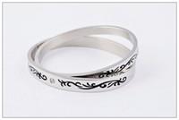 2014 hot sale silver Diamond bracelet , titanium steel brace...
