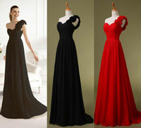 Wholesale 2014 Cheap One Shoulder Chiffon Black Red Bridesmaid Dresses Handmade Flowers Long Beach Bridal Evening Party Prom Gowns Ready to Wear Hot